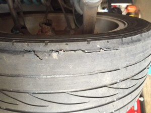 worn out tyre – unsafe on the road